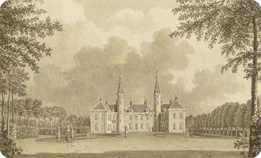 kasteel Ter Hooge te Koudekerke in 1785 door Jan Arends